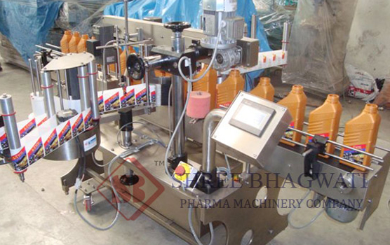Front and Back Labelling Machine , Lube oil Bottle / Jar Labeller