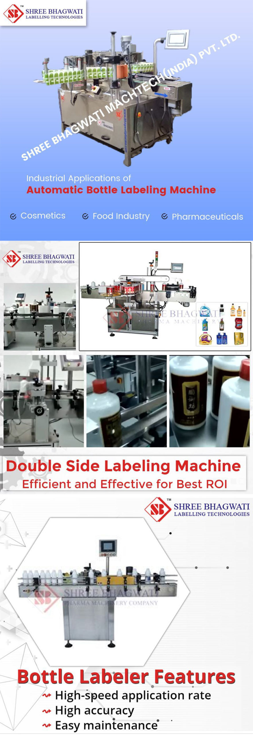 Label Applicator for Vial, Bottle, Jar, Jerry Can and Container Labelling Machine